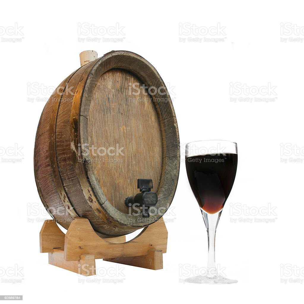 Wine Barrel and Glass of Port royalty-free stock photo