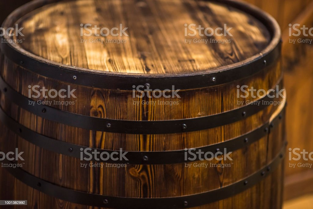 Wine Barrel in Cellar stock photo