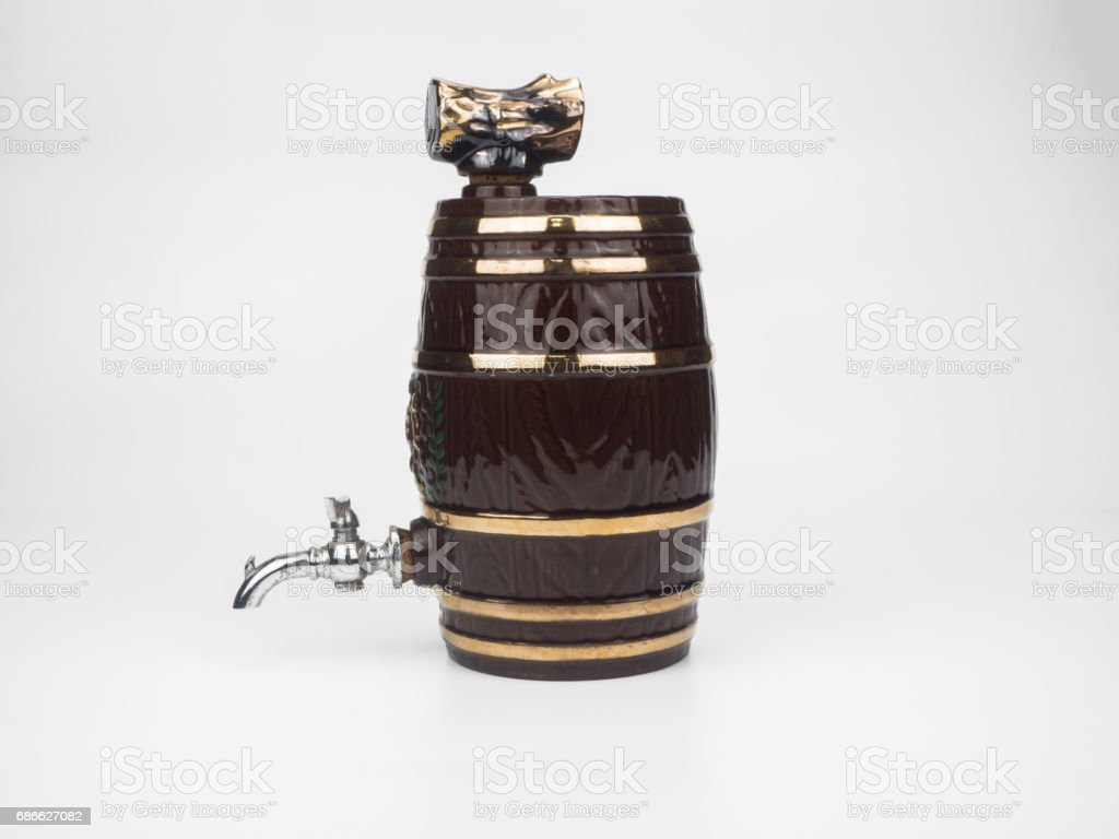 Wine barrel isolated on white background royalty-free stock photo