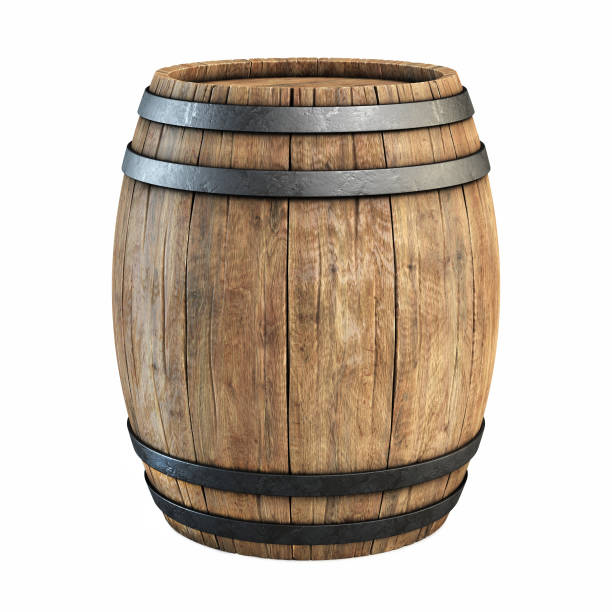 wine barrel over white background - barrel stock pictures, royalty-free photos & images