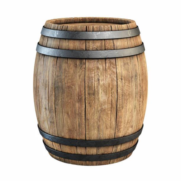wine barrel over white background stock photo