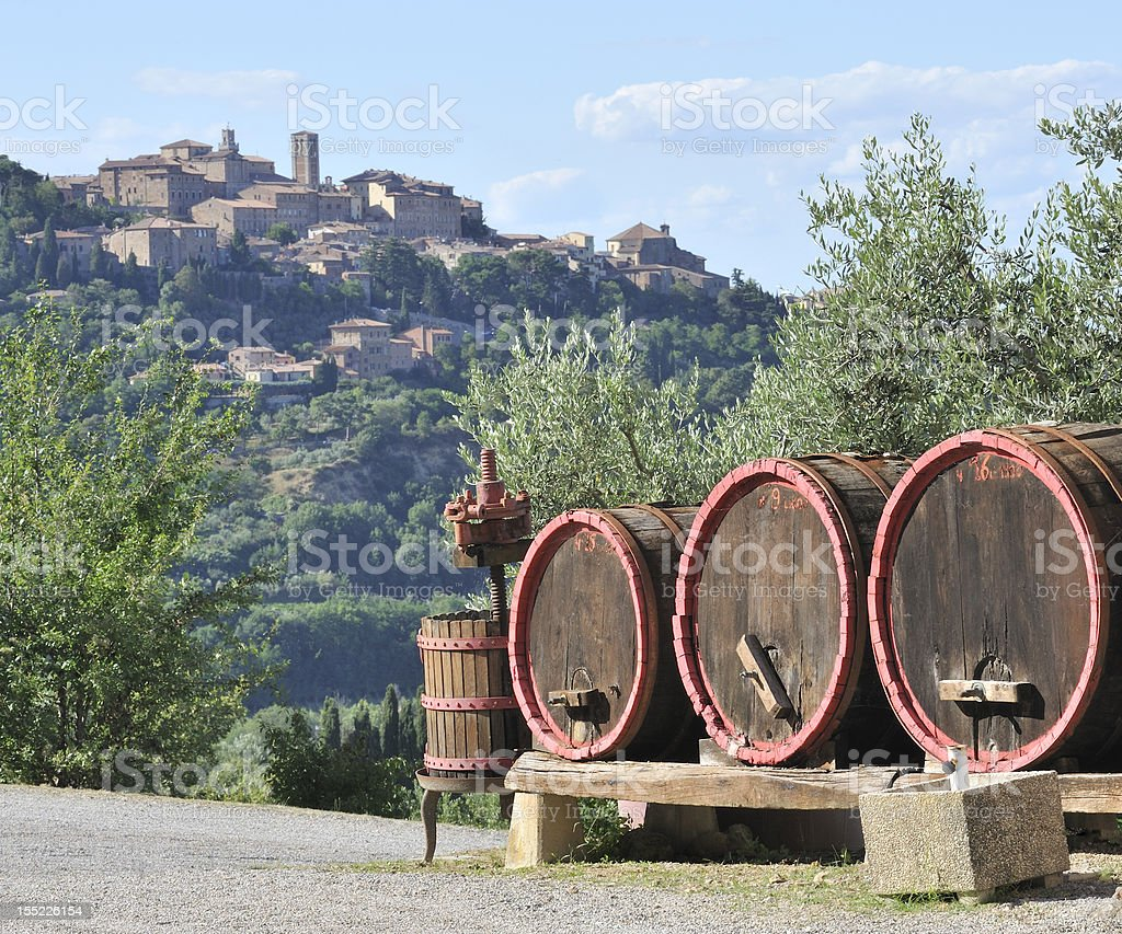 Wine barrels and winemaking in Montepulciano stock photo