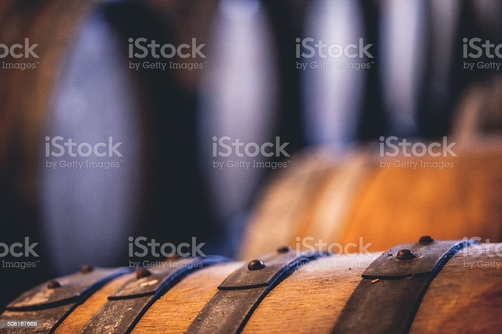 Wine Barrels, Close-up stock photo