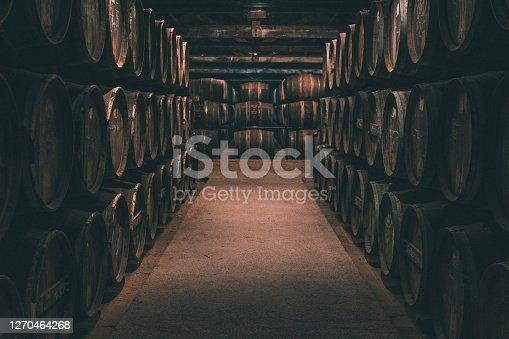 istock Wine barrels in Cognac, France 1270464268