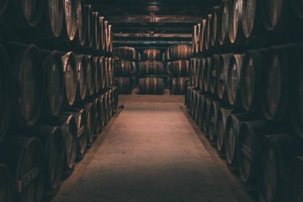 Wine barrels in Cognac, France stock photo