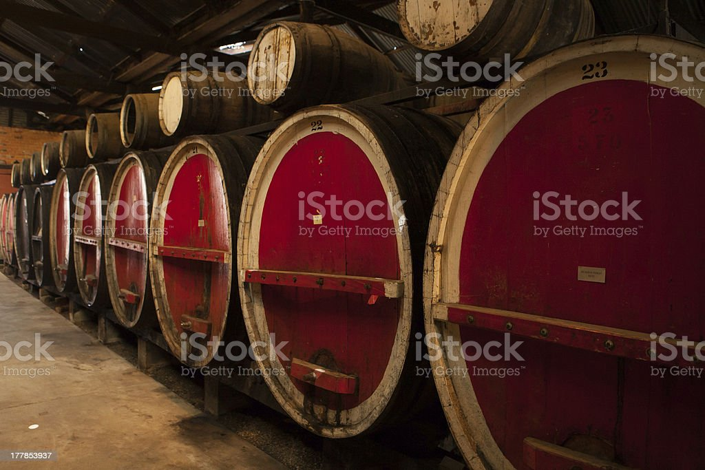 Wine Barrels in Storage royalty-free stock photo