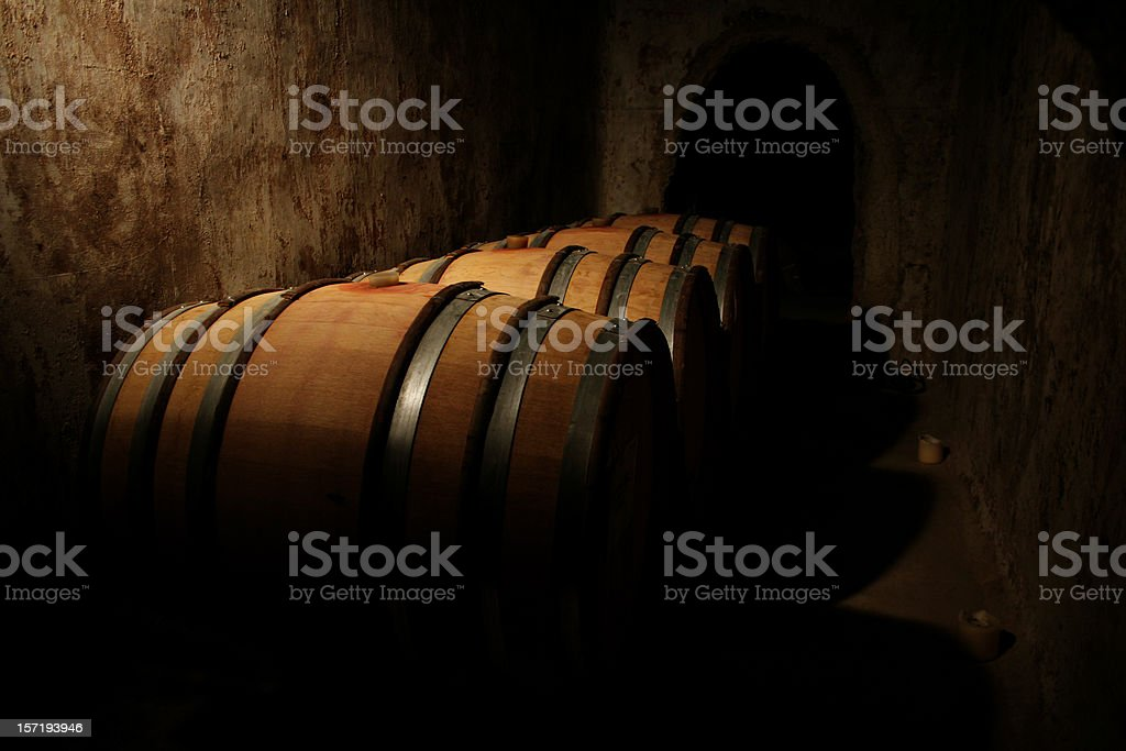Wine barrels in the caveau stock photo