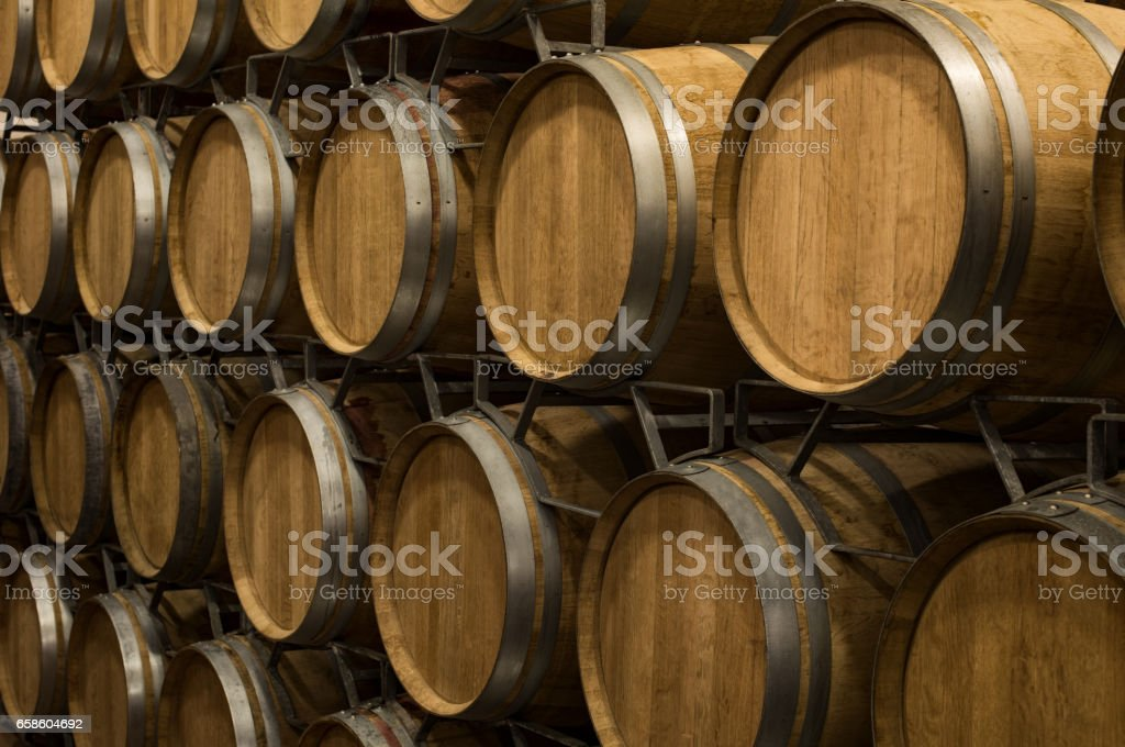 Wine barrels in wine cellar - foto stock