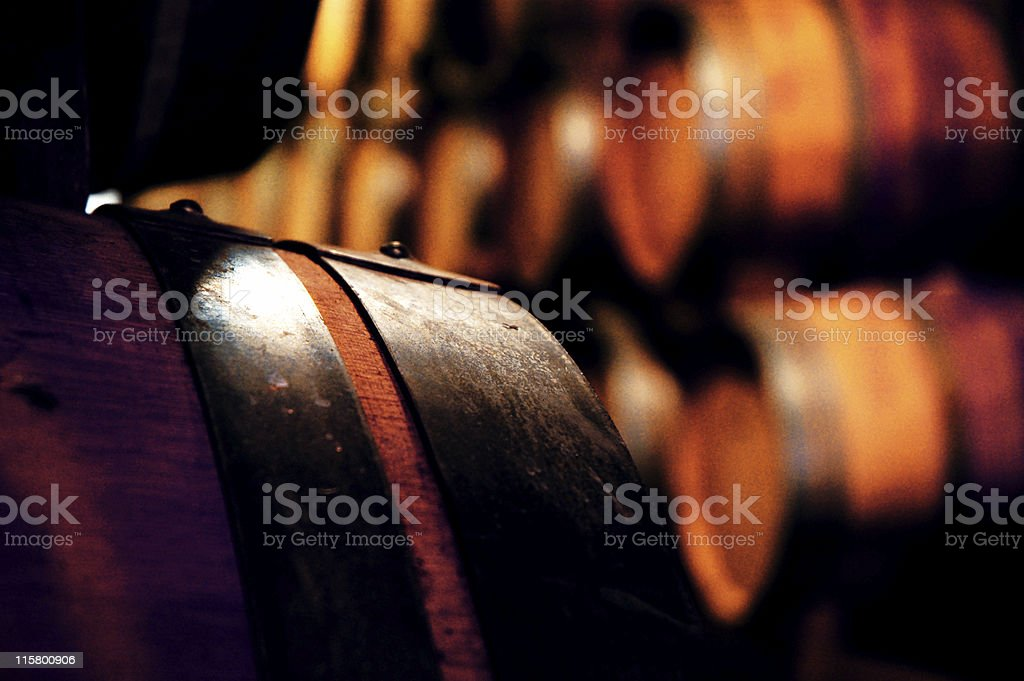 Wine barrels in winecellar royalty-free stock photo