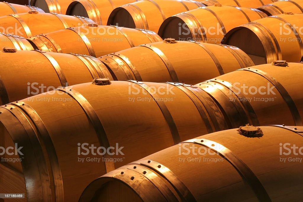 Wine Barrels in Winery Cellar of Napa Valley California royalty-free stock photo