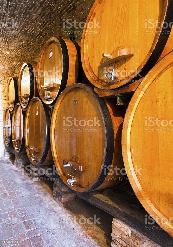 Wine barrels row royalty-free stock photo