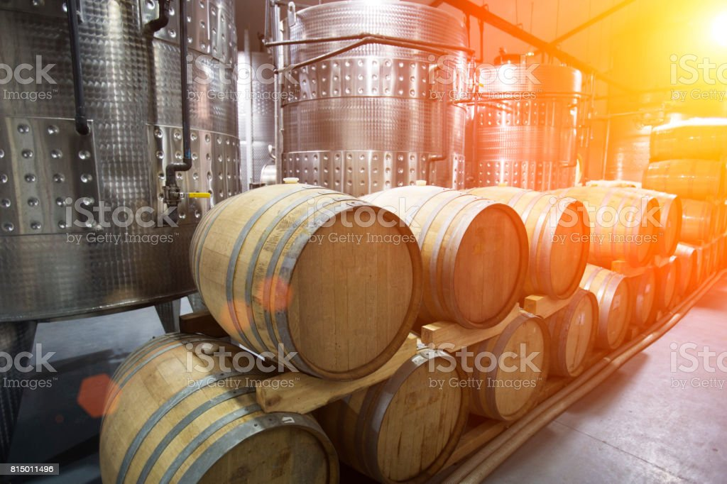 oak barrels stacked top. Wine Barrels Stacked In A Winery Stock Photo Oak Top