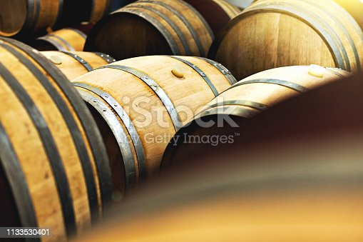 A large group of wooden wine barrels in a winemaker's cellar, some with bungs for tapping the wine, possibly containing maturing wine.