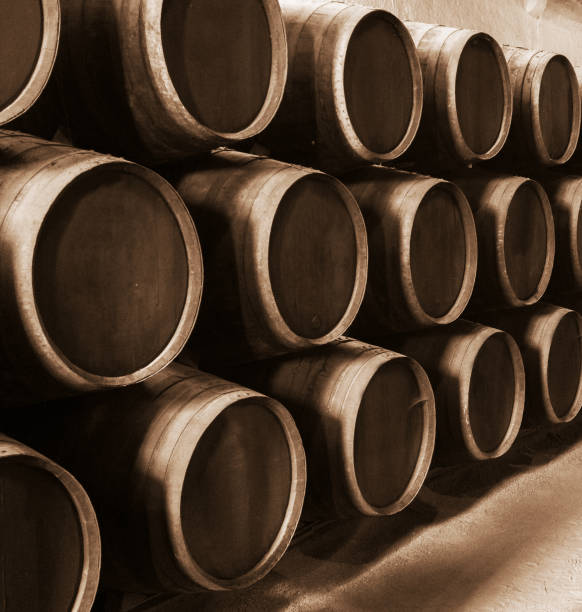 Wine barrels, toned. stock photo