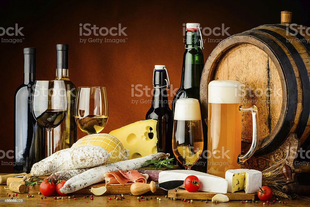 wine, beer and food stock photo
