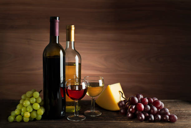 Wine bootle with food stock photo
