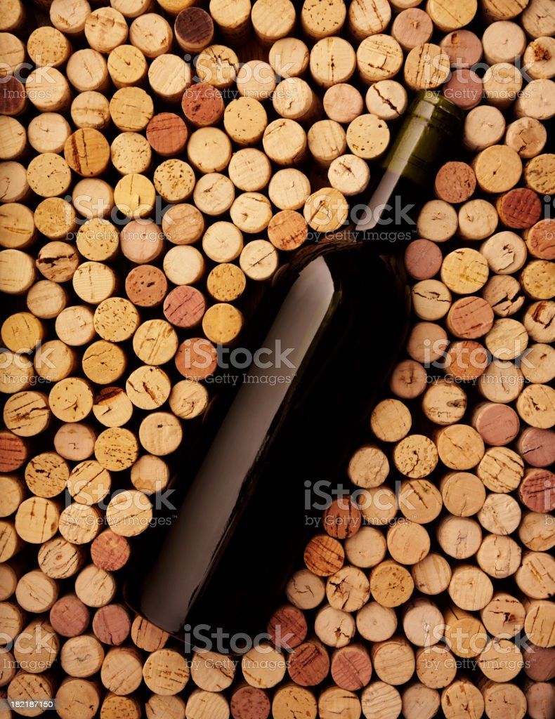 Wine Bottle and Corks stock photo