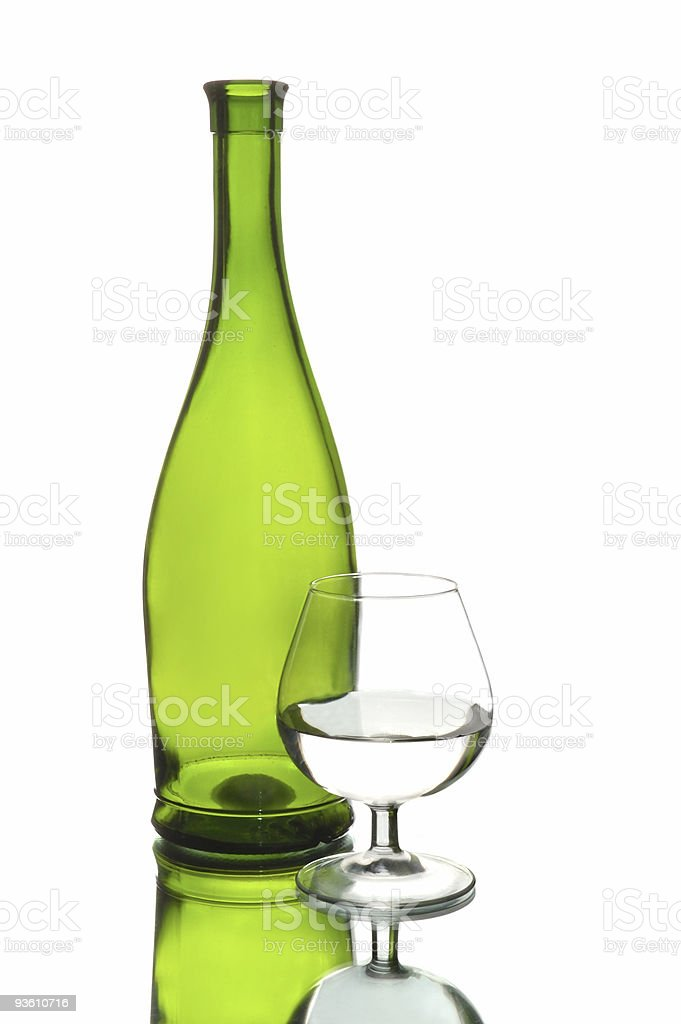 Wine bottle and glass royalty-free stock photo