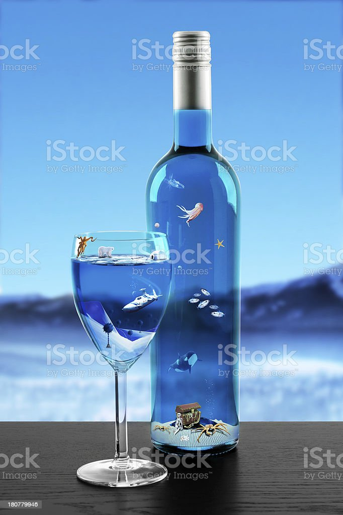 Wine bottle and glass with ocean floor inside stock photo