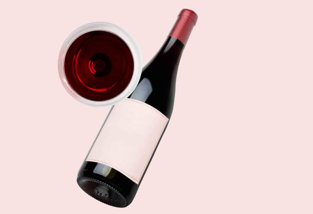 Wine Bottle and one glass Mock-Up. Blank Label. Top view stock photo