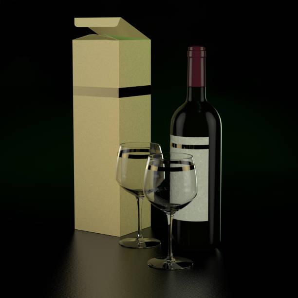 Bouteille de vin et deux verres - Photo