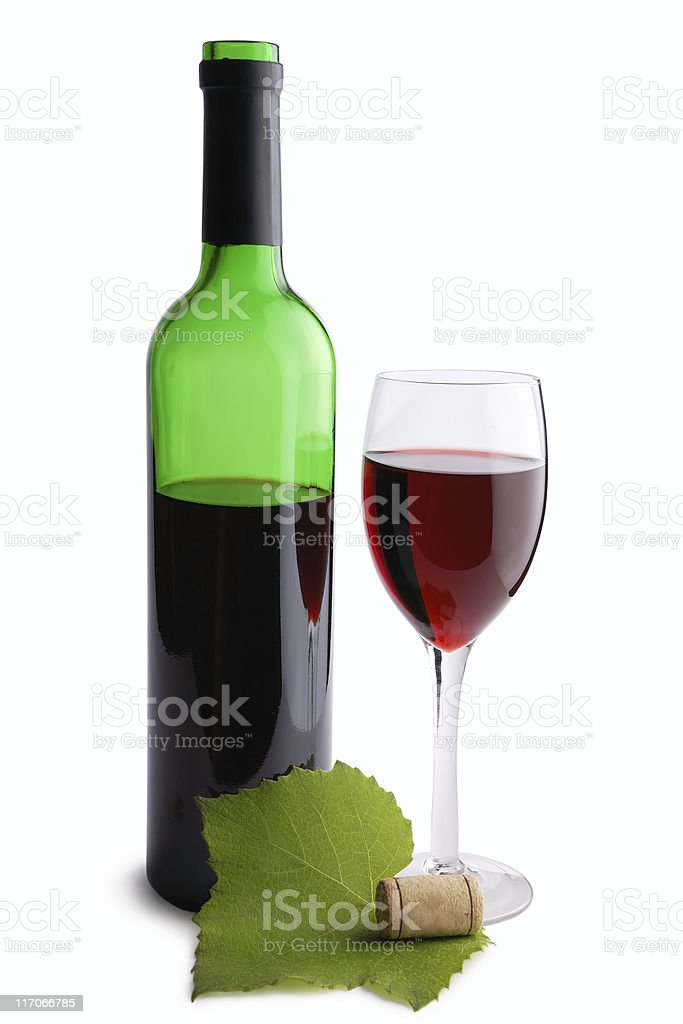 Wine bottle, cork, glass and grapes leaf royalty-free stock photo
