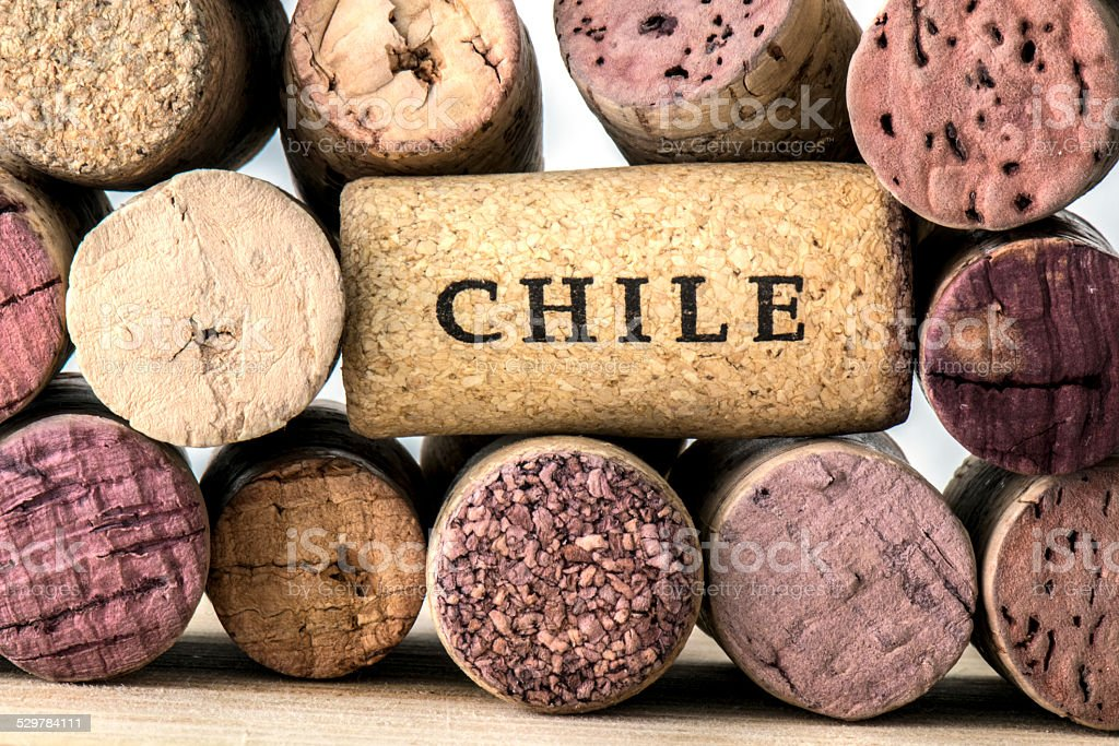 Wine bottle corks of Chile stock photo