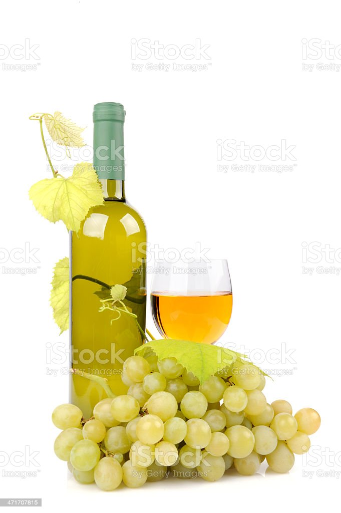 Wine bottle, glass and grapes royalty-free stock photo