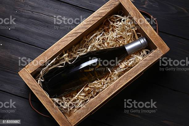 Wine Bottle In A Crate Stock Photo - Download Image Now