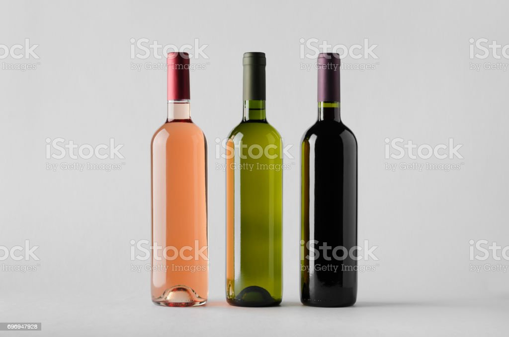 Wine Bottle Mock-Up - Three Bottles stock photo