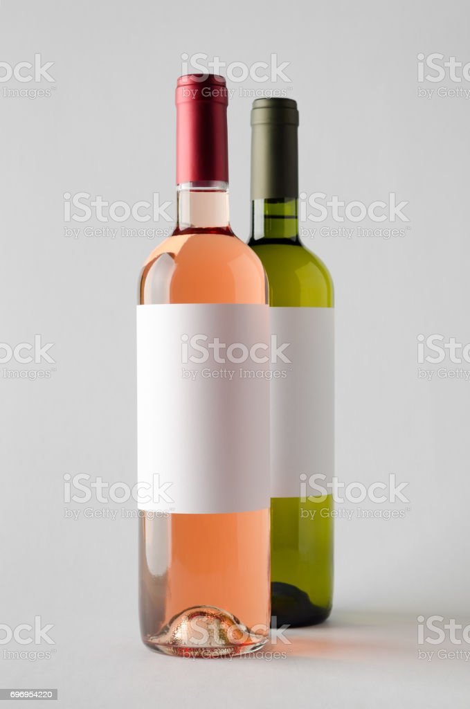Wine Bottle Mock-Up - Two Bottles. Blank Label stock photo