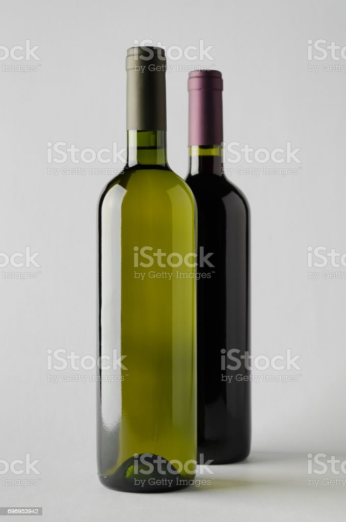 Wine Bottle Mock-Up - Two Bottles stock photo