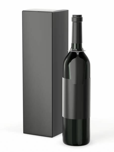 vinflaska utkast med blank etikett isolerad på vit bakgrund. en flaska med en hängande tagg för ditt varumärke och en kartong förpacknings låda. 3d-rendering - wine box bildbanksfoton och bilder