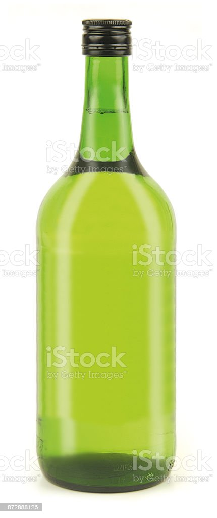 wine bottle on a white background. It can serve as a layout for future design and Publicity of your product. For mockup stock photo