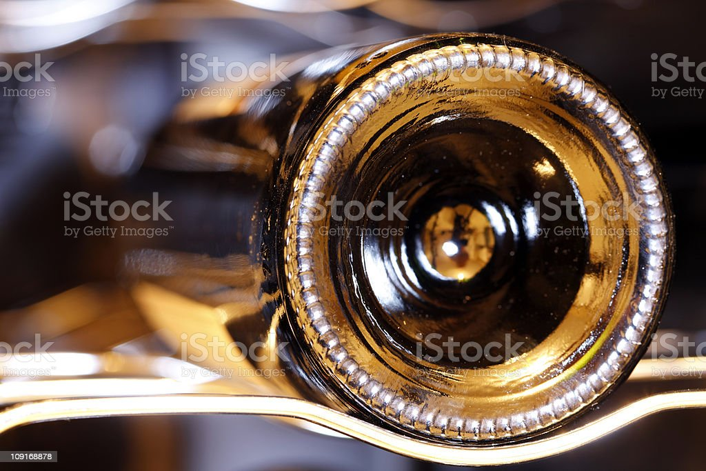 Wine bottle on rack royalty-free stock photo