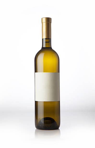Wine bottle on the white background. stock photo