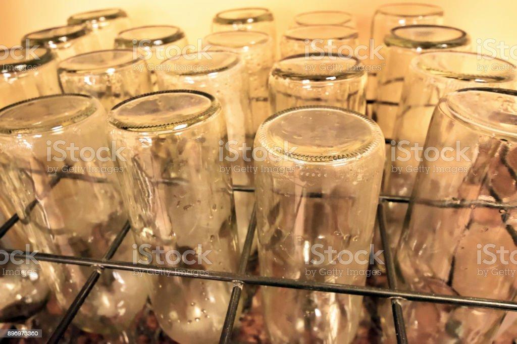 Wine Bottle Washing stock photo