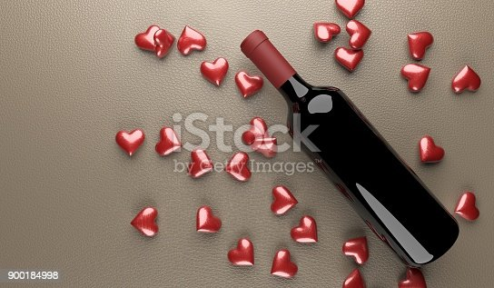 istock Wine Bottle With Bunch Of Red Hearts 900184998