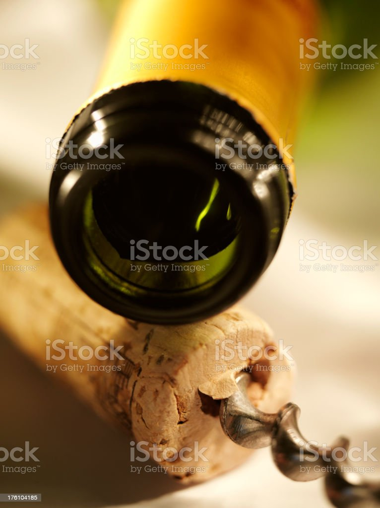 Wine Bottle with Cork and Opener royalty-free stock photo