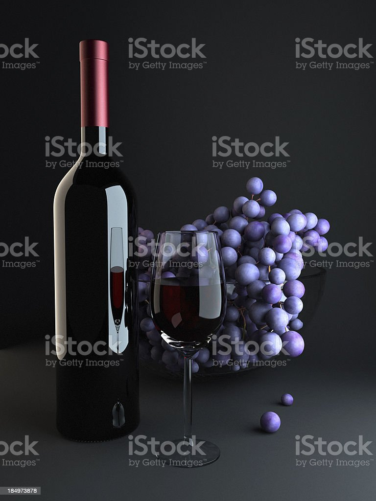 Wine bottle with glasses royalty-free stock photo