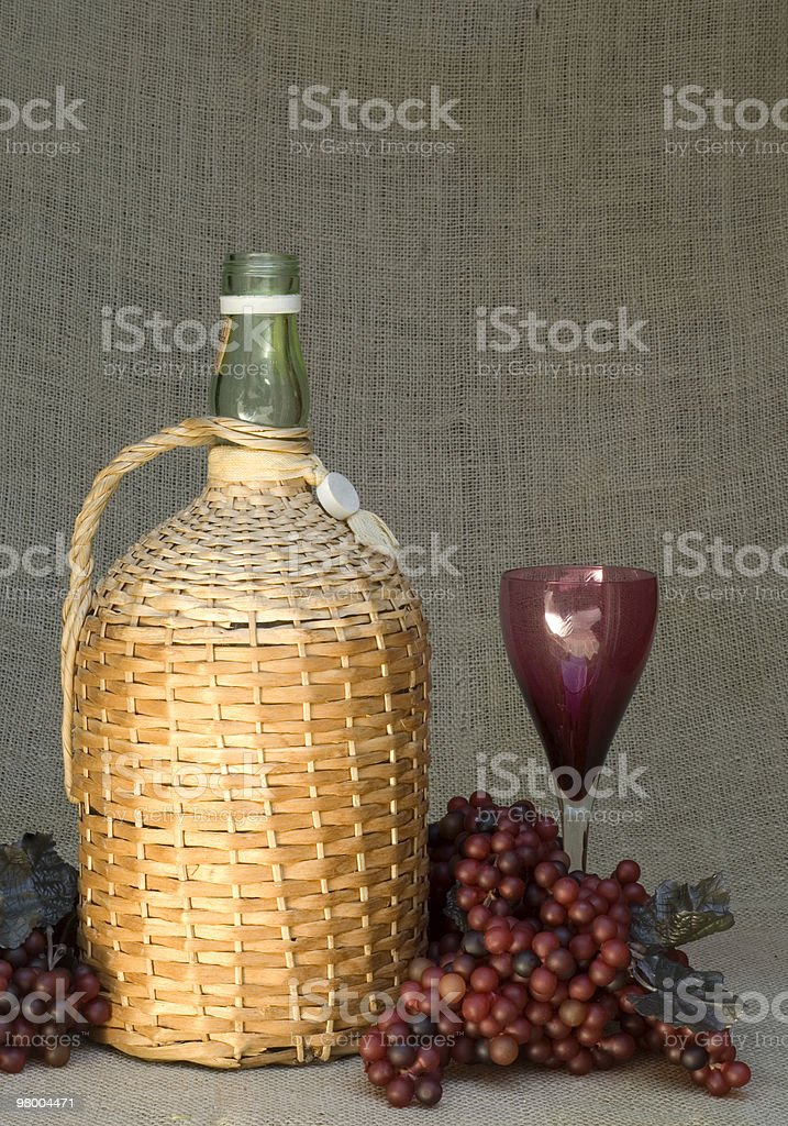 Wine Bottle with Grapes and Glass Still-life royalty-free stock photo