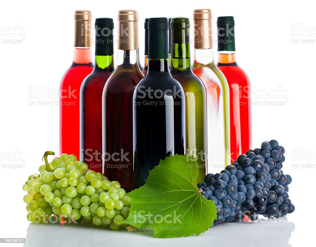 Wine bottles and grapes royalty-free stock photo