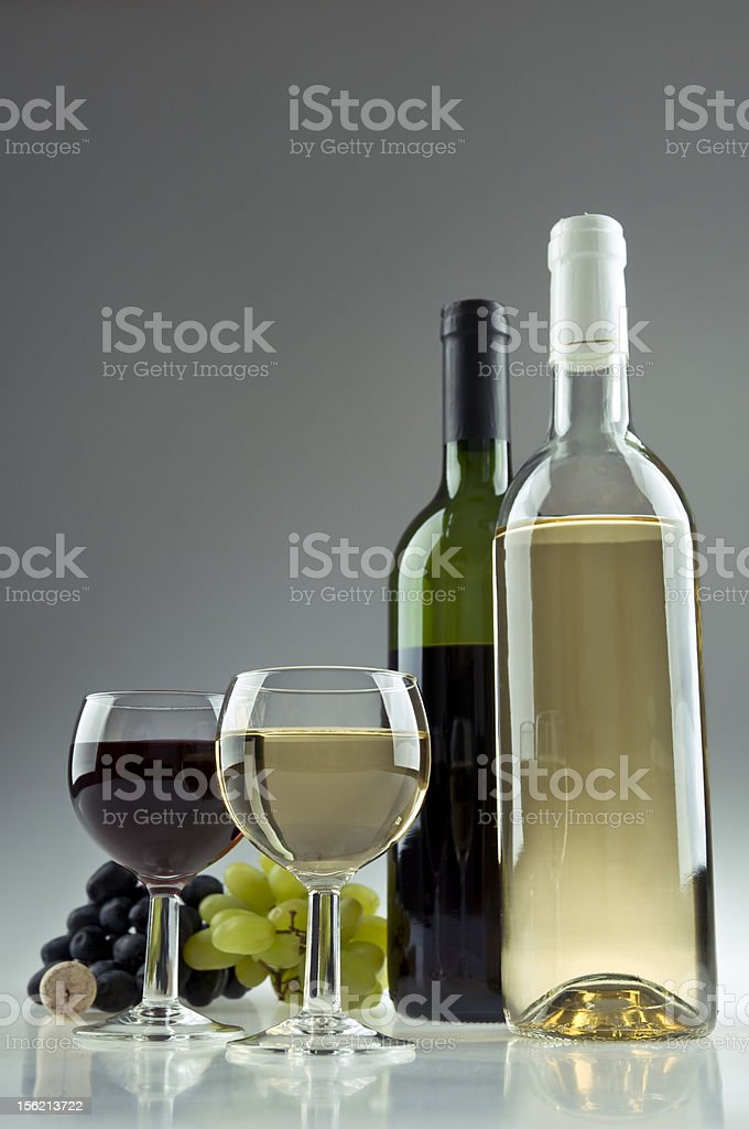 Wine bottles and two glasses royalty-free stock photo