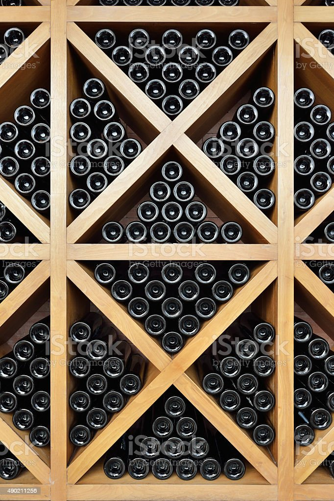Wine Bottles and Wine Rack stock photo