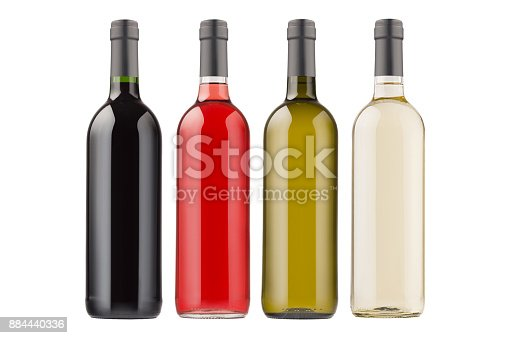 istock Wine bottles collection different colors isolated on  white background, mock up. 884440336