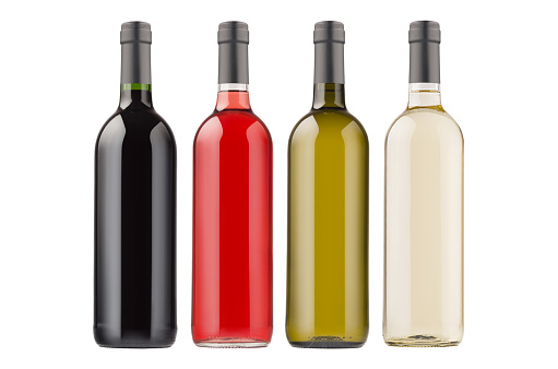Wine bottles collection different colors isolated on  white background, mock up.