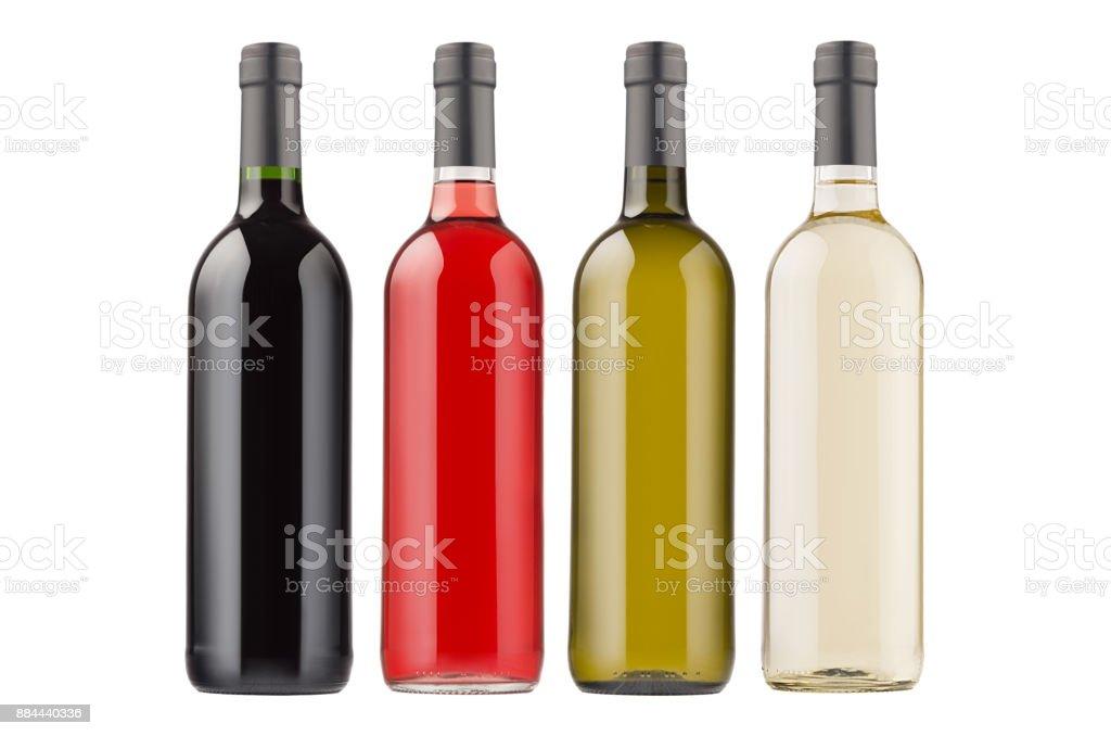 Vino botellas de diferentes colores colección aislados sobre fondo blanco, imitan para arriba. - foto de stock