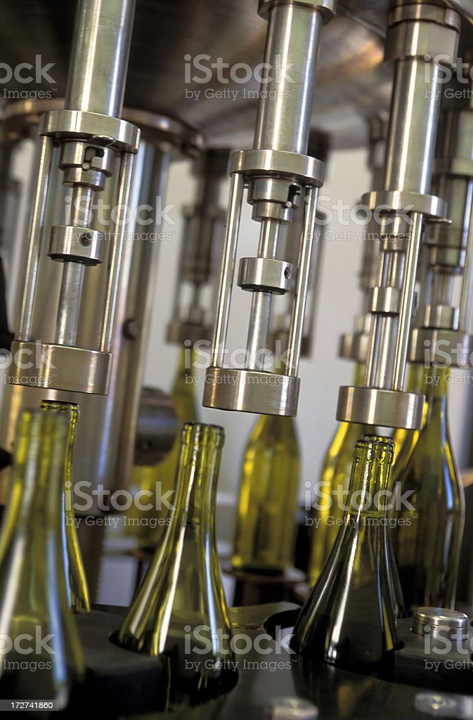 wine bottles cork automation machinery royalty-free stock photo