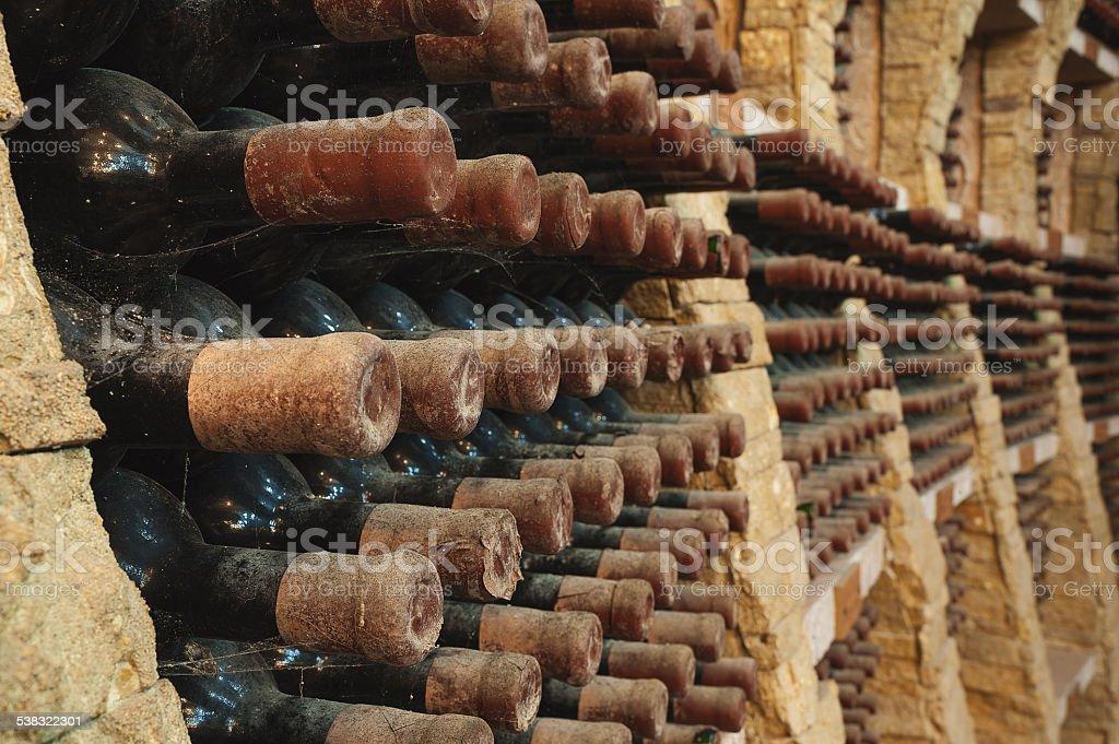 Wine bottles from vineyard cellar stock photo