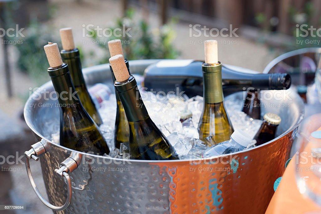 Wine Bottles in an Ice Bucket - foto de acervo